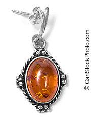 amber earing on white isolated background