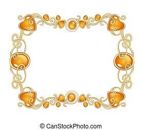 Amber gemstones frame