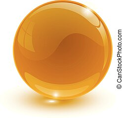 amber glassy ball on white background