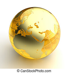 Amber globe with golden continents on white background - A...