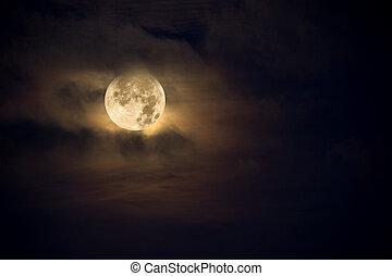 Amber moon - A dark night brings a bright, amber moon alive...