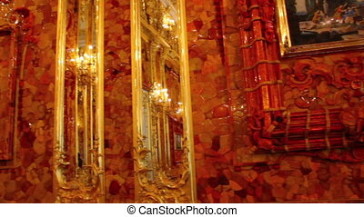 amber room in Catherine Palace - Pushkin St. Petersburg Russia