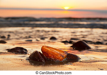 Amber stone on the beach. Precious gem, treasure. Baltic Sea...