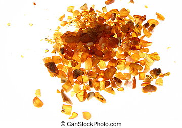 Amber - Stones of amber on white background