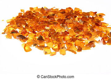 Amber - Stones of amber on white background