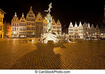amberes, grote, markt, brabo, estatua, noche