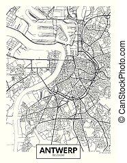 amberes, vector, diseño, ciudad, viaje, mapa, cartel