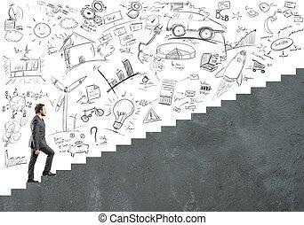 ambição, carreira, homem negócios