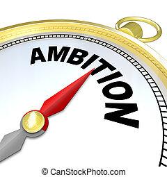 ambição, -, ouro, compasso, direções, para, empreendedor, pessoas