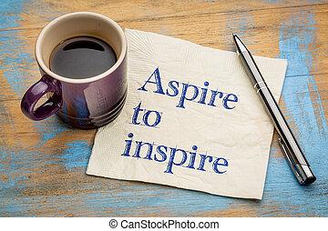 ambiëren, aantekening, servet, inspireren