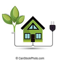ambiant, énergie, concept, maison arbre