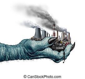 ambiant, climat, concept, changement, danger
