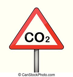 ambiant, co2, pollution, signe, avertissement, triangulaire