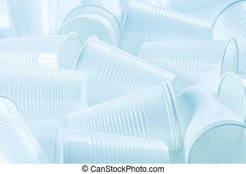 ambiant, tasses matière plastique, arrière-plan., jetable, ...