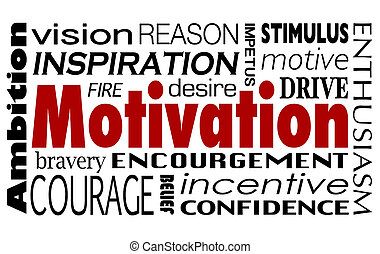 ambición, ánimo, unidad, collage, motivación, palabra, inspiración