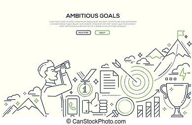 ambicioso, metas, -, linha, desenho, estilo, ilustração