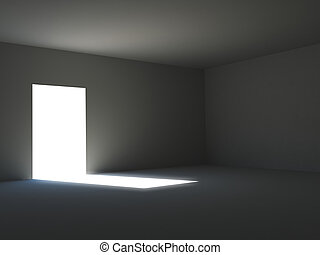 Ambient light in a dark room - 3D rendering of a dark room...