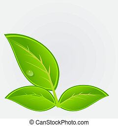 ambiental, ícone, com, plant., vetorial, ilustração