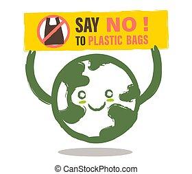 ambiental, caricatura, não, sinal., terra, sacola plástica, problema, dizer, sorrindo, conceito, illustration.