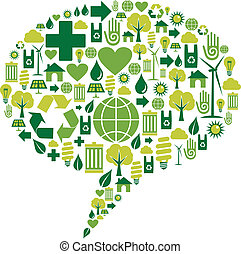 ambiental, diálogo, burbuja, iconos