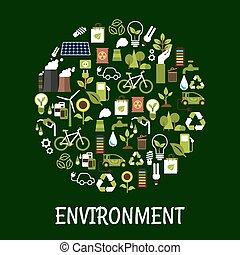 ambiental, ecología, amistoso, cartel