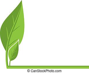 ambiental, fundo, com, folhas