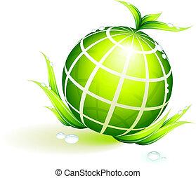 ambiental, globo, conservación, fondo verde