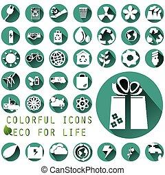 ambiental, iconos, en, verde, círculo