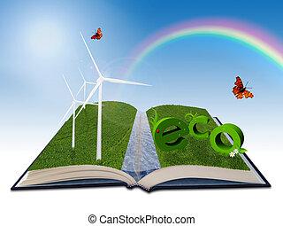 ambiental, ilustración, para, energía renovable