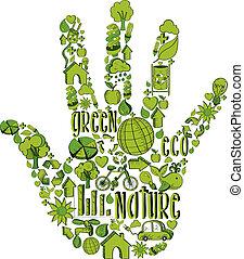 ambiental, mão, verde, ícones
