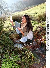 ambiental, mujer, científico, asuntos