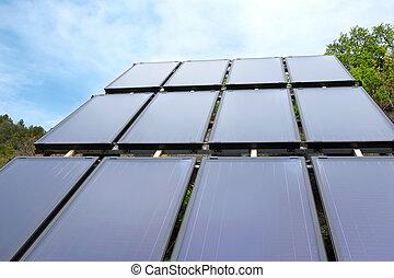 ambiental, painel, installed, em, a, campo, e, trabalhar, energia solar