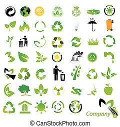 ambiental, reciclagem, /, ícones