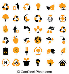ambiental, /, reciclagem, ícones