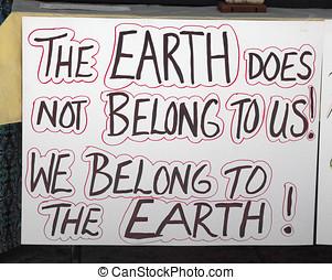 ambiental, sinal, em, gmo, protesto, rally
