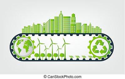 ambiental, vector, concepto, sostenible, energía, ahorro, engranaje, ilustración, ecología, desarrollo