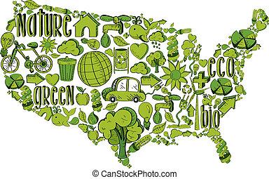 ambiental, verde, eua, ícones