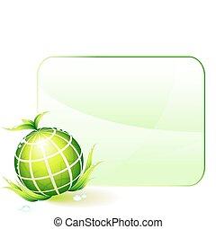 ambientale, globo, conservazione, sfondo verde
