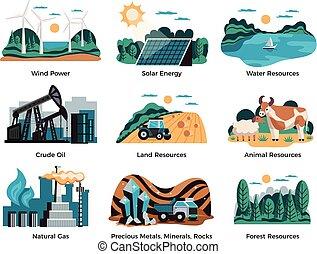 ambientale, set, risorse naturali