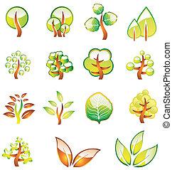 ambiente, brillante, árboles, iconos