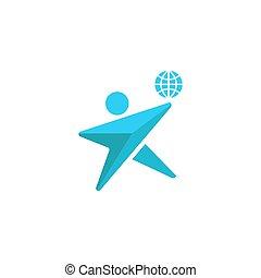 ambiente, concetto, silhouette, globo, emblema, insieme, pianeta, umano, insieme, uomo, logotipo, risparmiare, icona
