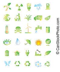 ambiente, conjunto, icono