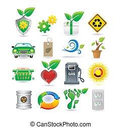 ambiente, conjunto, iconos