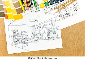 ambiente, diseñador, trabajando, escritorio