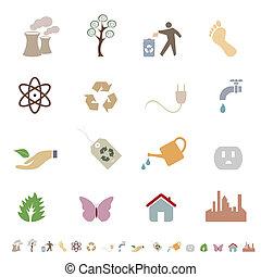 ambiente, eco, limpio, símbolos