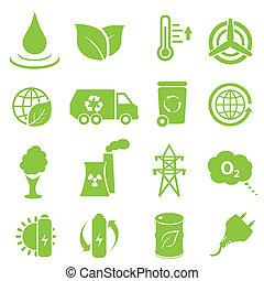 ambiente, ecología, iconos