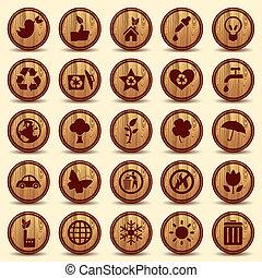 ambiente, ecología, iconos, set., símbolos, madera, verde