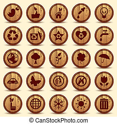 ambiente, ecologia, icone, set., simboli, legno, verde