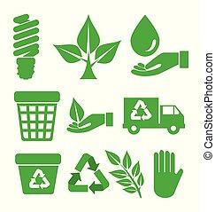 ambiente, ecologico, set, protezione, elemento