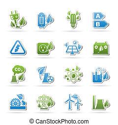 ambiente, energía, verde, iconos